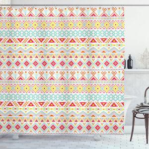Tribal Shower Curtain Native Style Aztec Art Print for Bathroom
