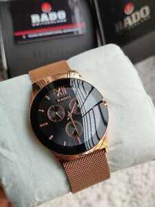 Vintage Rado 42MM Automatic Black Dial Rose Gold Men's Wrist Watch Scratchproof