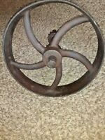 ANTIQUE CAST IRON PULLY FLYWHEEL WITH GEAR SHAFT STEAMPUNK