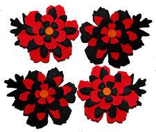 Halloween Felt Flowers Die Cuts Trimmings Floral Black Red Appliques Sizzix