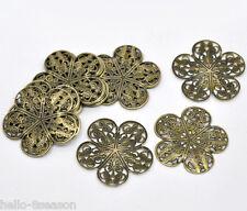 50 Bronze Tone Filigree Flower Wraps Connectors 36x36mm