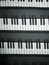 PIANO KEYBOARD MUSIC BLACK WHITE UPRIGHT COTTON FABRIC 17 3/4 Inch Scrap Cut