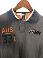 Helly Hansen Mens M Short Sleeve Polo Dark Gray Hydropower Team