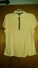 NWT DKNY Golf by JAMIE SADOCK  Yellow Short Sleeve Zip Golf Shirt - size L $89