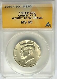 Mint Error 1994 Kennedy  Curved Clip ANAC MS65: Clip From Y Top To  Base Of 4