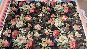 "Vtg 90s P KAUFMANN Fabric Bark Cloth Stain Resistant USA 41""x55"" pheasant floral"