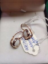 18CT (750) Gold Faceted Agate in Rose Gold Wire Back Earrings 9 mm