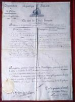 BREVET CAPITAINE AN 11 SIGNATURE BONAPARTE NAPOLEON PARCHEMIN GENUINE DOCUMENT