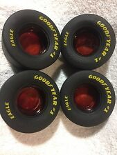 "Set of 4 Red Glass Goodyear Tire Ashtrays Rubber Tires 3.5"" x 1.5"" New Ashtray"
