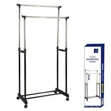 Double Garment Rack Extendable Coat Hanging Rail Storage Stand Adjustable