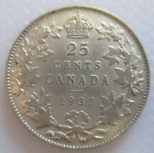 1932 CANADA 25¢ KING GEORGE V SILVER QUARTER COIN