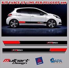 KIT FASCE ADESIVI PER PEUGEOT GT LINE STICKER 106 206 207 208 308