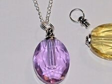 Oval Purple Glass pendant cremation urn ashes perfume bottle Screw cap Necklace