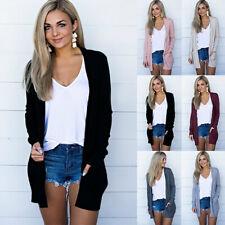 Women Knit Cardigan Long Sleeve Open Front Draped Sweater Jumper Coat Tunic Tops