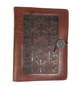 Oberon Celtic Design Embossed Leather Journal Planner Cover Refillable USA 9.5x7
