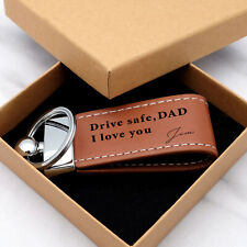 Personalized Leather Keychain Signature Keyring Leather Key Fob Set Gift for Him