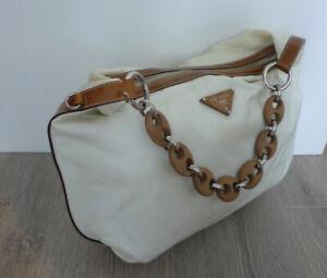 Vintage White Nylon Prada Shoulder Handbag w Wood Chain Strap Brown Leather Trim