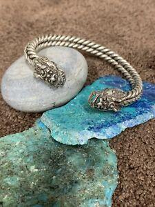 Antique Sterling Silver Dragon Head Cuff Bracelet Bangle Cuff Vtg 925 Handmade