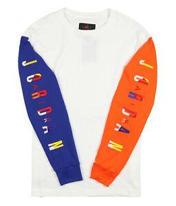 JORDAN Rivals Long Sleeve Jersey Shirt Medium White Orange Blue 91 Championship