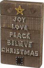 Primitive Rustic Wood Christmas Word Tree String Art Box Sign