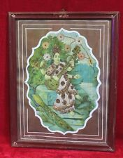 Old Vintage Ravi Varma Saraswati Cotton Work Print with Frame Collectible PO-21