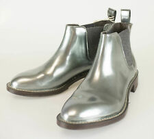 New BRUNELLO CUCINELLI Blue Patent Leather Ankle Boots Shoes Size 35/5 $1395