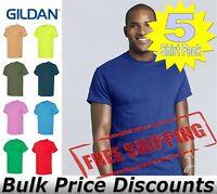 5 Pack Gildan Mens Plain Blank Short Sleeve Solid Cotton or Blend T Shirt S-5XL