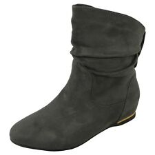 Womens Wedge Ankle Boots New Ladies Flat Faux Suede Slouch Low Heel Shoes Size