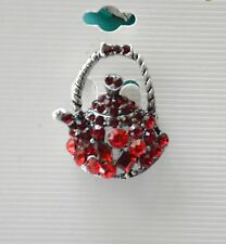 Tea Pot Pin / Red Crystal Stud / Antique -Silver-tone / Red Hat Lady