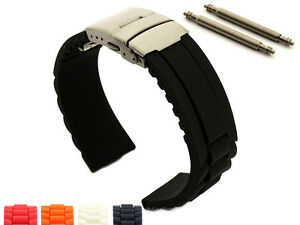 Silicone Rubber Watch Strap Band Waterproof Deployment Clasp 18 20 22 24 GM MM