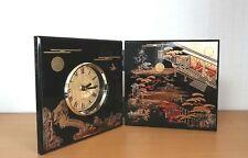 Table Clock Yamanaka Urushi Lacquer Hatsune Edo funiture folding screen japan