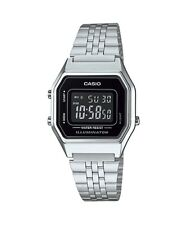 LA680WA-1B Silver Black Casio Stainless Steel Watch Lady Stopwatch Alarm Digital