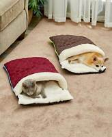 Quilted Snuggle Sack Cat Dog Pet Bed - Red Blue or Brown - Warm and Cozy Bedding