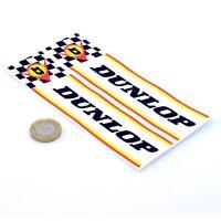 Dunlop Check & Stripe Stickers Classic Car Racing Vinyl Decals 150mm x2