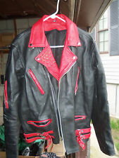 Men's Black & Red Studded Zippered Strapped Punk Leather Jacket Sz 42 Super Cool