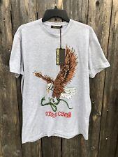 NWT $199 Roberto Cavalli Eagle & Snake Men's T Shirt 100% Cotton Grey Sz L