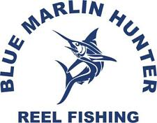 Blue Marlin Hunter Reel Fishing Die-Cut Vinyl Sticker for Car or Truck Window