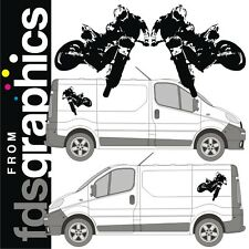 Pair of 700mm x 720mm freestyle motocross van stickers/decals (mirror imaged)