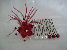 Epingle pics à Cheveux accessoire Mariée/Mariage Fleur Ivoire/Bordeaux perles