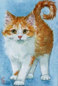 ACEO ORIGINAL Sweet Kitten 21-0049 Mixed Media Painting cat s-lana