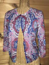 Talbots Paisley Cardigan Sweater Women's size SP 3/4 sleeves Blue