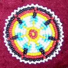 """EAGLE FEATHERS WHITE"" NATIVE AMERICAN BEADED ROSETTE 50 mm."