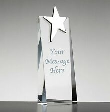 Personalised Engraved Glass & Silver Plated Star Coach Player of Year Award