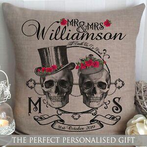 Personalised Wedding Gift SKULL GOTHIC Cushion Cover Halloween Christmas Mr&Mrs