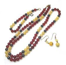 Necklace bracelet & earrings set 6mm carnelian, yellow jade & hematite B26