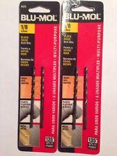 "1/8"" Blu Mol Black Oxide Drill Bits-2 Bits Per Pack- 2 Packs-total 4 Bits"