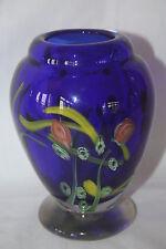 "HAND BLOWN MURANO ART GLASS HEAVY URN STYLE COBALT BLUE W/ FLOWERS VASE 6"" X 4"""