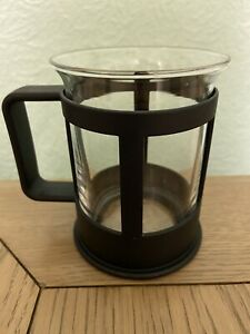 Vintage Bodum Bistro Glass Coffee Mug Cup Retro Black 10.5cm TallReplacement