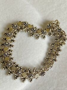 "Ladies Vintage Sterling Silver Ornate Bracelet 7"" Long"