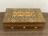 "Syrian Handmade Wood Box Marquetry Inlaid Mosaic & Mother of Pear (10.6x6.4"")"